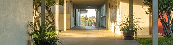 view down school hallway